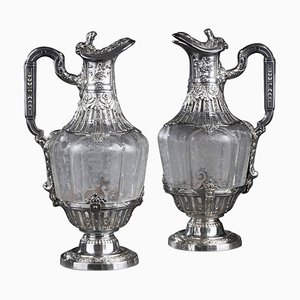 19th Century Silver and Crystal Engraved Ewer, Set of 2
