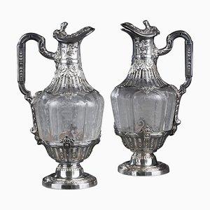 Gravierte Wasserkanne aus Silber & Kristallglas, 19. Jh., 2er Set