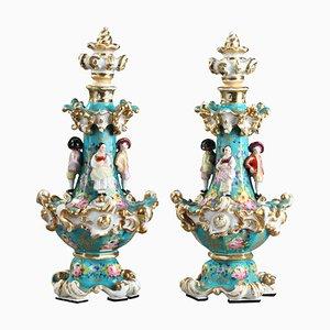 Porcelain Flasks by Jacob Petit, 1830-1840, Set of 2