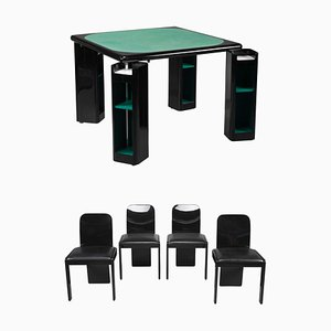 Italian Game Table and Chairs by Pierluigi Molinari for Pozzi, 1970s, Set of 5