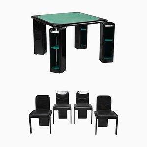 Tavolo da gioco e sedie di Pierluigi Molinari per Pozzi, Italia, anni '70, set di 5