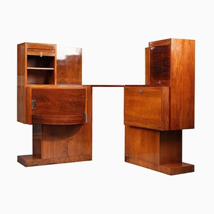 Art Deco Bar and Drop-Front Desk in the Style of André Sornay (1902-2000), Set of 2