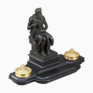 19th Century Napoleon III Marble Inkwell After Michelangelo's Moses