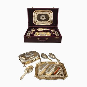 Versilbertes und vergoldetes Frisiertischset von Lionel Alfred Crichton, London, 1917, 8er Set