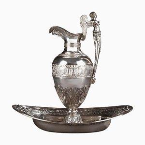 Brocca Impero in argento con scodella di Edme Gelez, set di 2