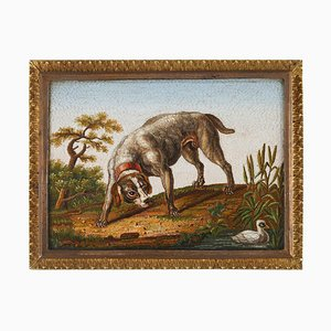 Early 19th Century Micromosaic of Dog Chasing a Duck After Gioacchino Barberi