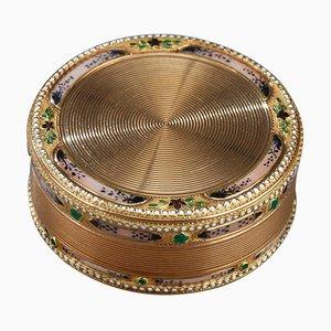 Runde Box aus Gold und Emaille, 18. Jh
