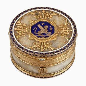 Tabacchiera in quarzo e oro con smalto e diamante di Rozet e Fishmeister