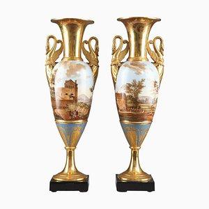 Large Empire Period Fuseau Vases in Porcelain of Paris, Set of 2