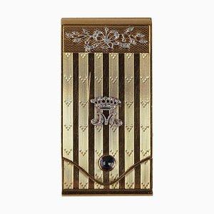 Cassa in oro con diamanti e zaffiro, inizio XX secolo