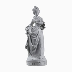 Paul Duboy, Young Girl in a Ball Gown, Bisque Statue