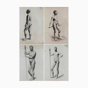 V. Geoffroy, Dessins de Nu d'Après un Modèle Vivant, 1890s, Encadré, Set de 4