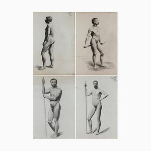 V. Geoffroy, Nude Drawings After a Live Model, fine XIX secolo, Incorniciato, set di 4