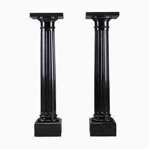 Napoleon III Imperial Black Marble Pedestals, Set of 2