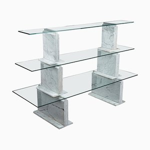 Carrara Marble Bookcase with Glass Shelves by Alessandro Mendini, 1970s