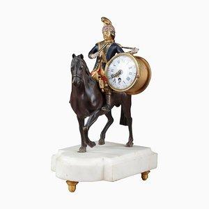 18. Jh. Louis XVI Uhr mit Darstellung eines Soldaten auf dem Pferderücken