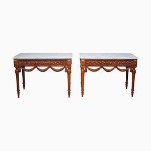 Louis XVI Style Walnut Console Tables, Set of 2