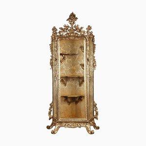 Vetrina in stile barocco in legno dorato, Italia