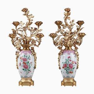 Vasen, 19. Jh., Lampen mit Porzellan-Effekt in Famille Rose, 2er Set