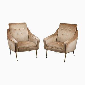 Velvet Bergère Chairs, 1950s, Set of 2