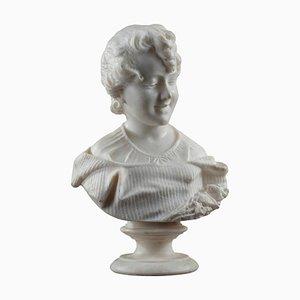 Buste de Jeune Fille en Albâtre, 19ème Siècle