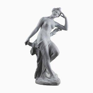 Sehr große Jugendstil Biskuitporzellan Skulptur von Bather