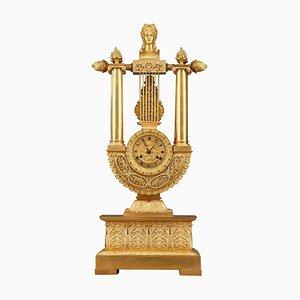 Empire Lyre Uhr aus vergoldeter Bronze im Empire Stil