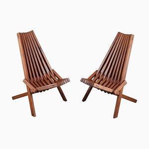 Scandinavian Teak Folding Chairs, Set of 2