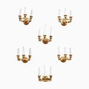 Applique da parete Carlo X in bronzo dorato, set di 6