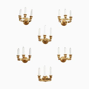 Charles X Gilded Bronze Wall Sconces, Set of 6