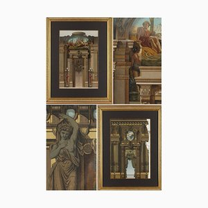 Engravings with Polychrome Decoration of a Palace Interior, Framed, Set of 2