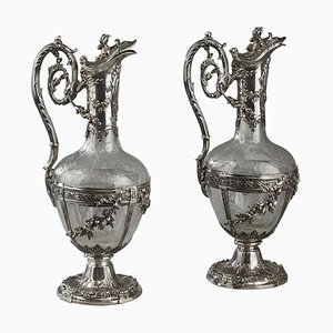 Cut-Glass Silver-Mounted Decanters by Edmond Tétard, 19th Century, Set of 2
