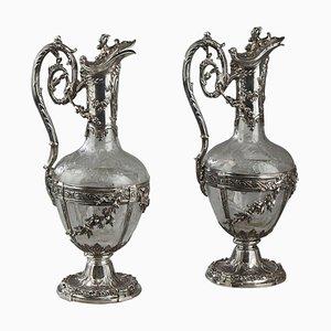 Geschliffene Dekanter aus geschliffenem Glas von Edmond Tétard, 19. Jh., 2er Set