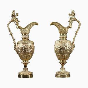 Napoleon III Wasserkrüge aus vergoldeter Bronze, 2er Set