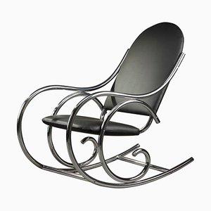 Sedia a dondolo in metallo cromato e similpelle, XX secolo