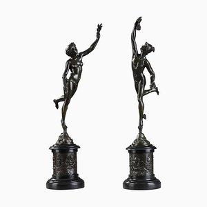 Esculturas de bronce de Jean de Bologne, Fortune and Mercury. Juego de 2