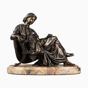 Moreau After James Pradier, donna seduta, scultura in bronzo