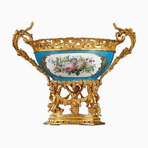 Grand Bol Piédestal en Porcelaine et Bronze Doré, 19ème Siècle