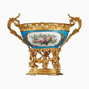Large Pedestal Bowl in Porcelain and Gilt Bronze, 19th Century