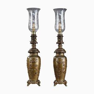 Chinese Style Kerosene Lamps with Birds, Set of 2