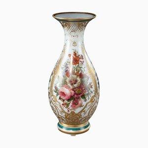 Vaso Luigi Filippo in cristallo opalino smaltato, XIX secolo
