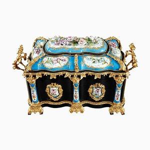 Large Ebony and Porcelain Coffer by Alphonse Giroux