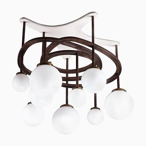 Lacquered Wood, Copper and Opaline Chandelier by Yves Faucheur