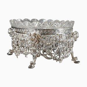 Spätes 19. Jh. Jardiniere aus Silber und geschliffenem Kristallglas