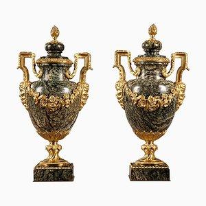 Vasen aus Marmor & vergoldeter Bronze, 19. Jh., 2er Set