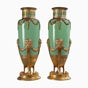 Grüne Vasen aus Jade & vergoldetem Messing, spätes 19. Jh., 2er Set