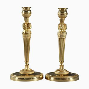 Gilded and Sculpted Bronze Candlesticks, Set of 2