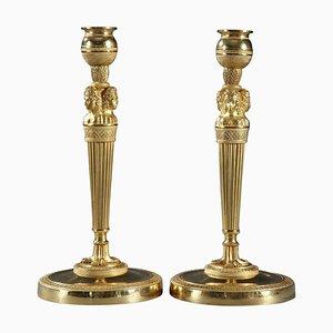 Portacandele in bronzo dorato e scolpito, set di 2