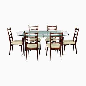 Italienische Esszimmergarnitur mit Stühlen aus Mahagoni, 7er Set