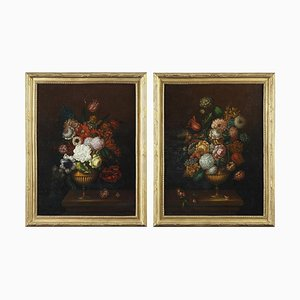 19th Century Paintings of Flower Bouquets, Set of 2